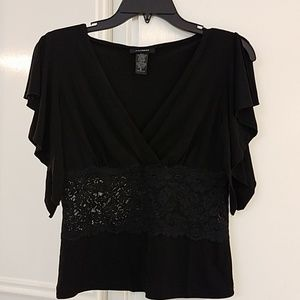 Black Top with lace inset